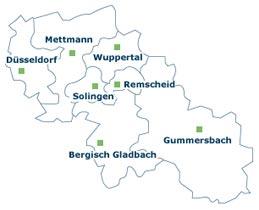 Wuppertal, Remscheid, Solingen, Bergisch Gladbach - Karte des bergischen Lands